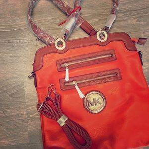 NEW Michael Kors MK Orange Large Tote Bag